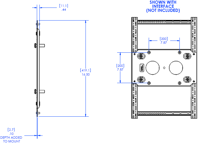 Technical Drawing of Chief TA410 Thinstall Portrait Adapter Black