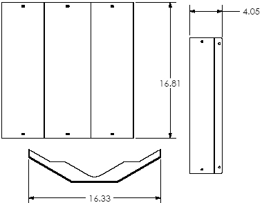 Technical Drawing of Chief TPA100 TPS Mount Back Cover
