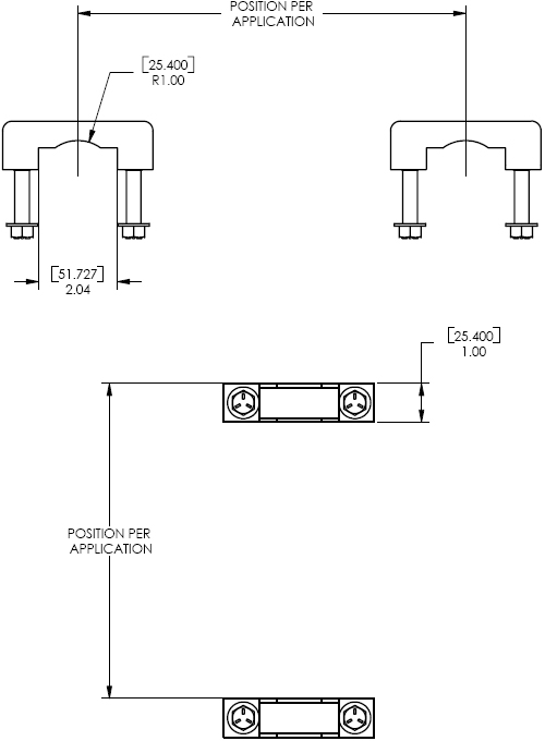 Technical Drawing for Chief TPK4 Truss Clamp Kit Black