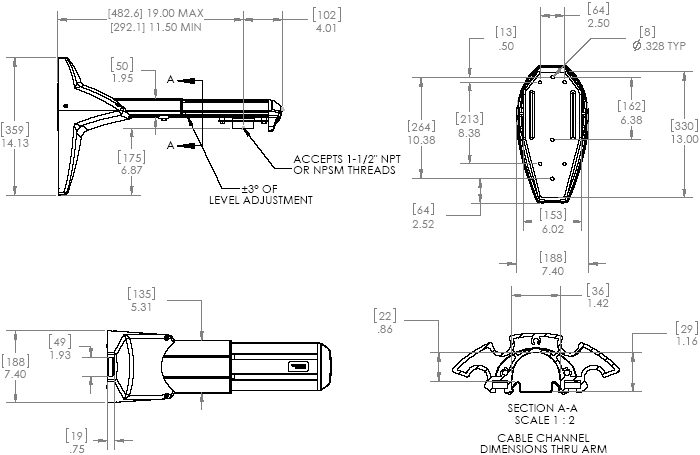 Technical Drawing of Chief WMA1s Heavy Duty Single Stud Wall Mount Accessory Silver