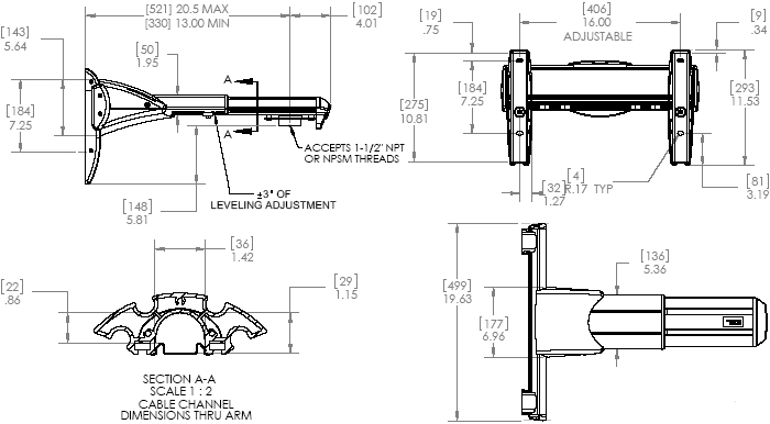 Technical Drawing of Chief WMA2S Heavy Duty Dual Stud Wall Mount Accessory Silver