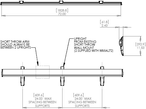 "Drawing of Chief WMAL72 Lateral 72"" Shift Accessory Silver"