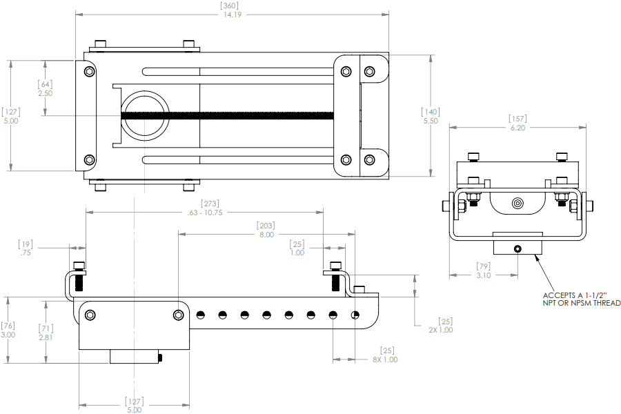 Technical Drawing for Chief CMA-360 I-Beam Clamp