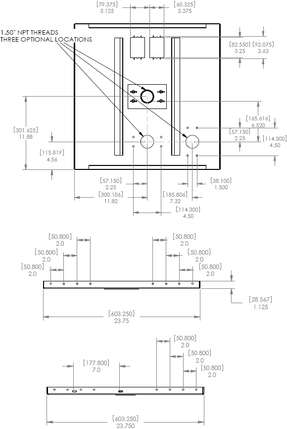 Technical Drawing for Chief CMA450 Suspended Ceiling Kit