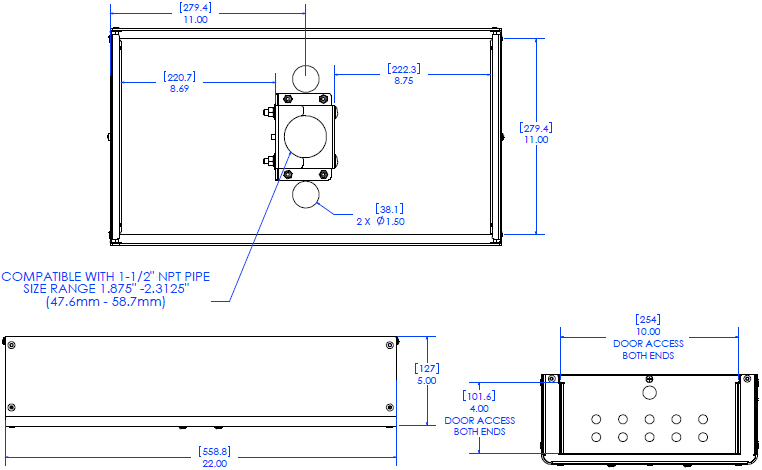 Technical Drawing for Chief CMA480 Column Storage Shelf