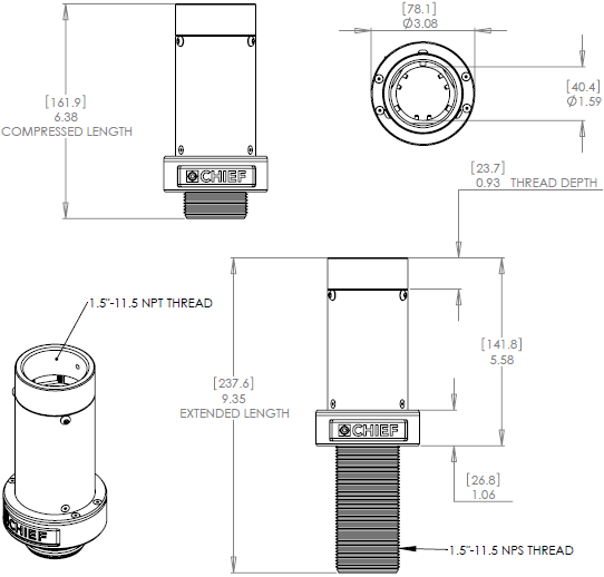 "Technical Drawing for Chief CMSH3 - 3"" Column Height Adjustment Accessory"