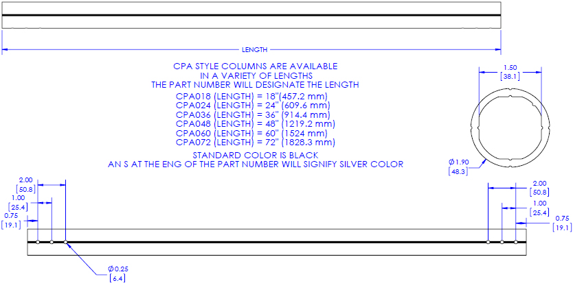 Technical Drawing for Chief CPA (CPA018, CPA024, CPA036, CPA048, CPA060, CPA072) Pin Connection Extension Column