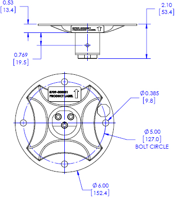 Technical drawing for Chief CPA115 Pin Connection Flat Ceiling Plate