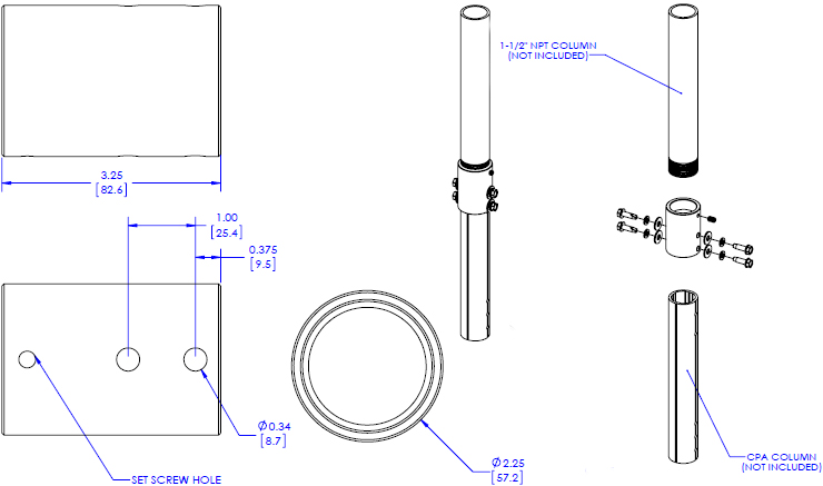 Technical drawing for Chief CPA264 Pin Connection Coupler