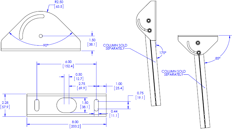 Technical Drawing for Chief CPA395 Angled Ceiling Plate, Pin Connection