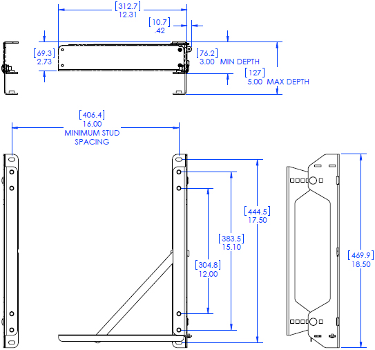 Technical drawing for Chief FCA103 FUSION CPU Extender Accessory