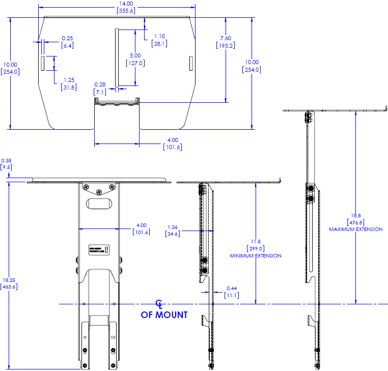"Technical Drawing for Chief FCA501 FUSION 14"" Upper Video Conferencing Shelf"