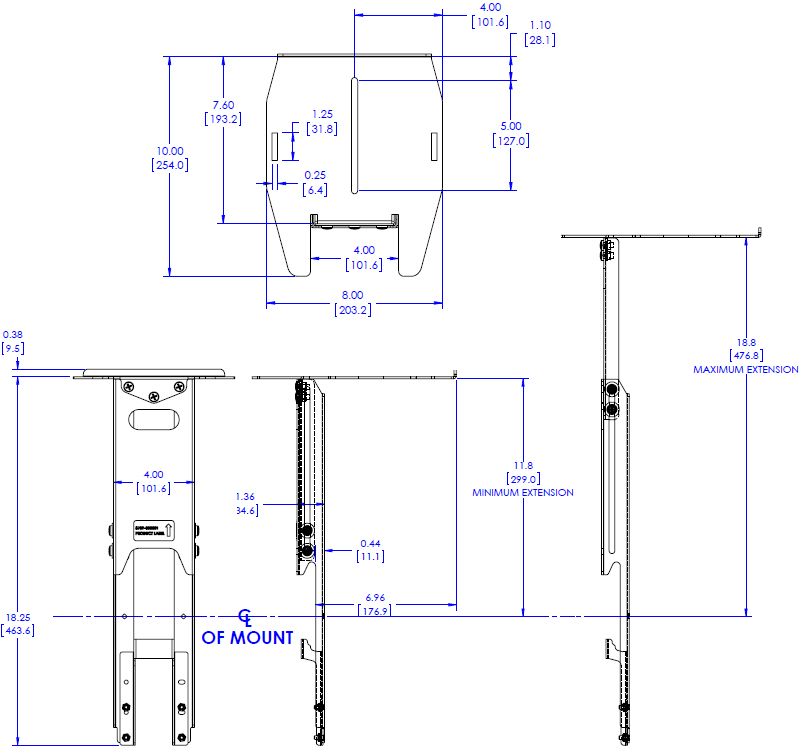"Technical Drawing for Chief FCA502 FUSION 8"" Upper Video Conferencing Shelf"