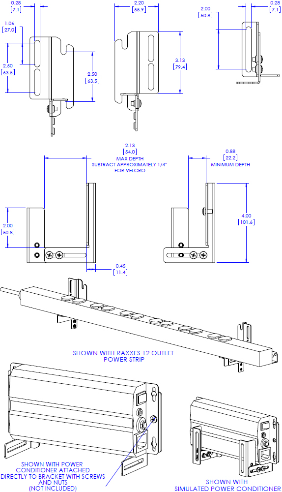 Technical Drawing for Chief FCA520 FUSION Universal Clamp Accessory