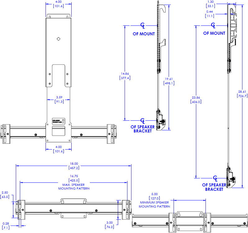 Technical Drawing for Chief FCA530 Center Channel Speaker Adapter