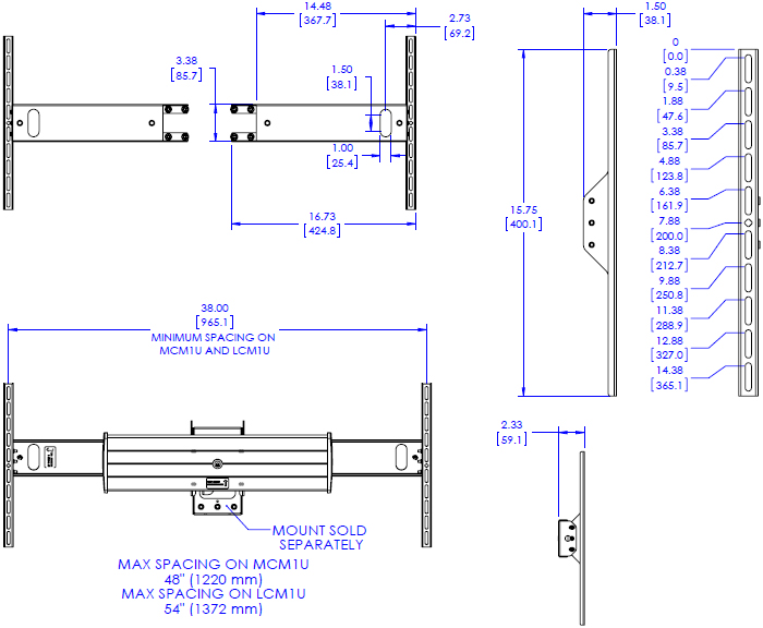 Technical Drawing for Chief FCA535 Side Speaker Adapter