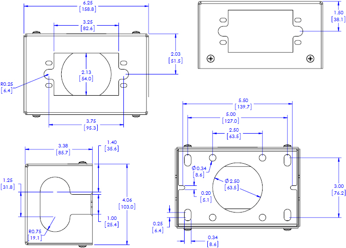 Technical Drawing for Chief FCA540 FUSION Power Outlet Accessory