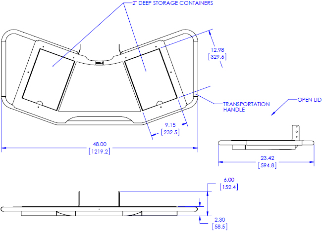 Technical Drawing for Chief FCA610 FUSION Large Height Adjustable Accessory Shelf