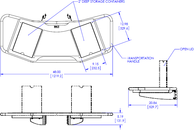 Technical drawing for chief FCA612 FUSION Large Height-Adjustable Shelf