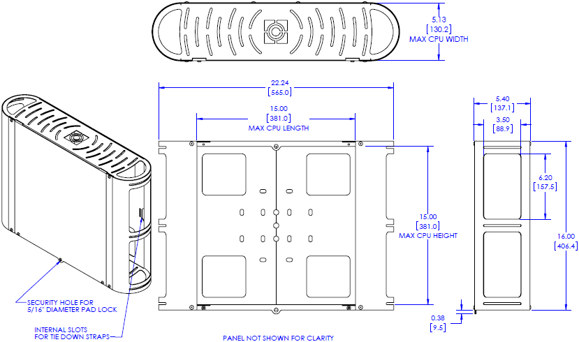 Technical Drawing for Chief FCA650 Large CPU Holder