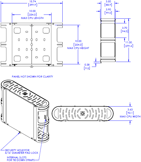 Technical Drawing for Chief FCA651 Medium CPU Holder