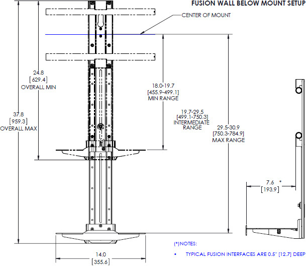 "Technical drawing for Chief FCA811 Fusion 14"" Above/Below Shelf for XL Displays"