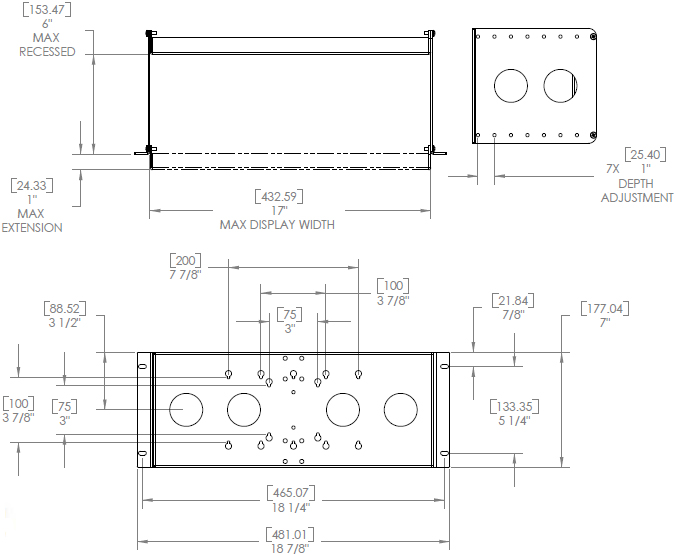 "Technical Drawing for Chief FSA1015B - 19"" Equipment Rack Accessory"
