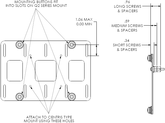 Technical Drawing of Chief FSB4101 VESA 200x100 mm or 100x100 mm Interface Bracket