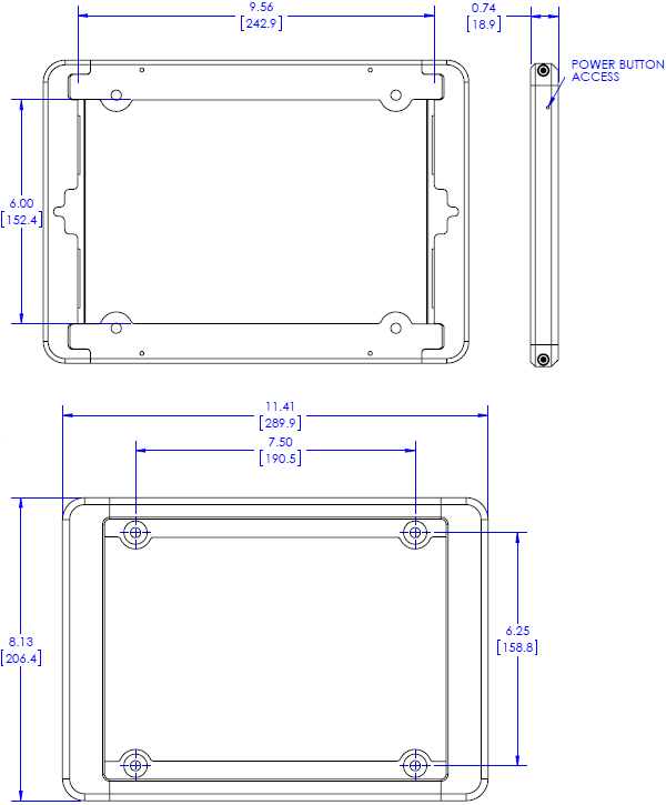 Technical Drawing for Chief FSRI2TB iPad Flush Mount Bracket