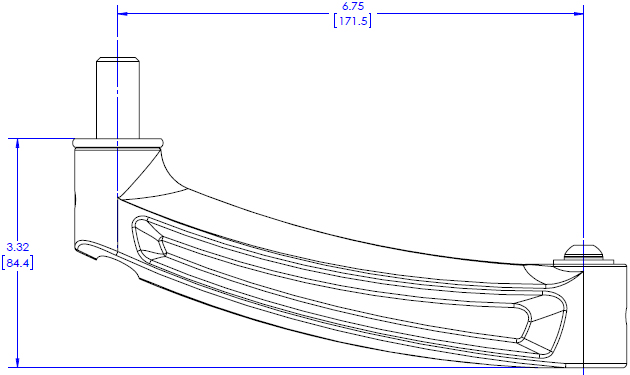 Technical Drawing for KRA208 KONTOUR Extension Arm Accessory