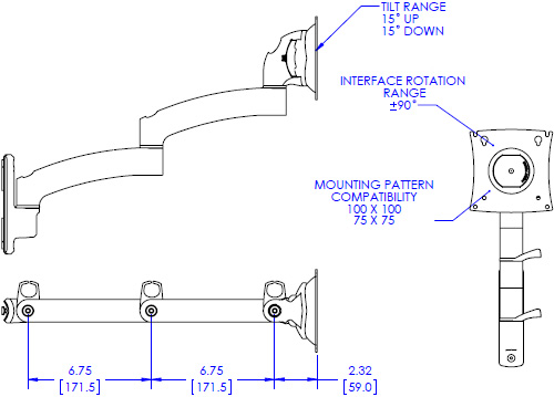 Technical drawing for Chief KRA222 Kontour K2C Expansion Arm Kit