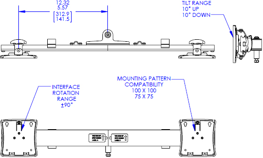 Technical drawing for Chief KRA223 Kontour Dual Monitor Array Accessory