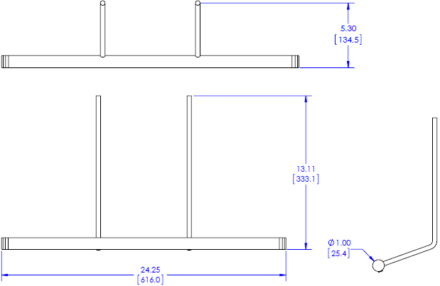 Technical drawing for Chief KRA224B Kontour Dual Monitor Array Handle Accessory