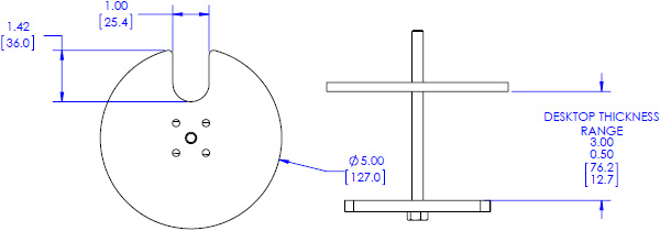 Technical drawing for Chief KRA226 Kontour Center-of-Table Grommet Plate