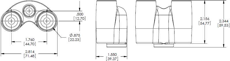 Technical Drawing for Chief KSA1011B Dual Monitor Y-Connector Accessory
