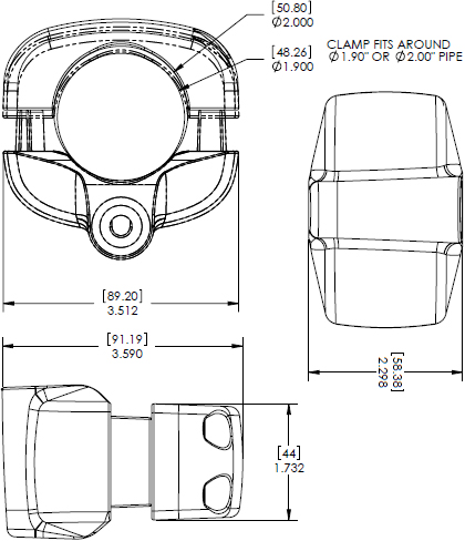 Technical Drawings for Chief KSA1017 Pole Clamp Accessory
