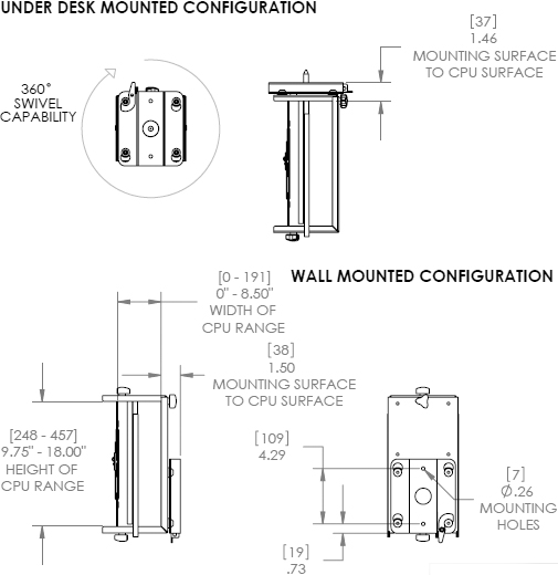 Technical Drawings for Chief KSA1020 CPU Wall or Desk Mount