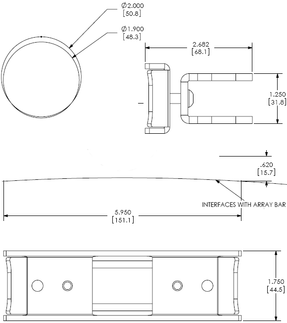 Technical Drawing for Chief KTA1003 Array Dual Pole Clamp