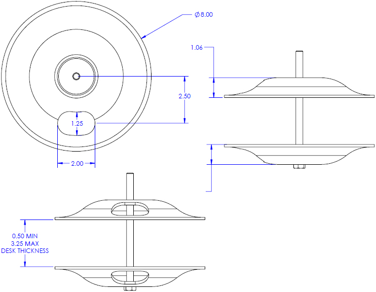 Technical Drawing for Chief KTA1007B or KTA1007S Array Large Grommet Accessory