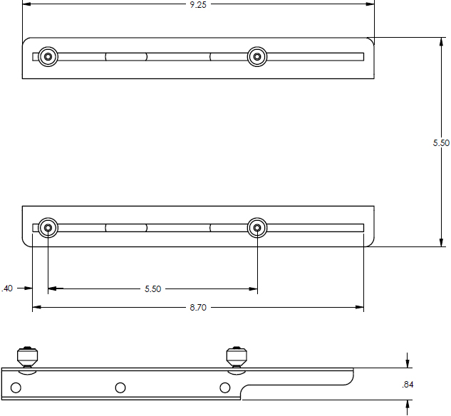 Technical Drawing for Chief LSB100 Lateral Shift Bracket for LCD/DLP Projector Mounts