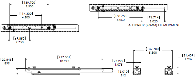 Technical Drawing for Chief LSB101 Lateral Shift Bracket for RPM Mount with Q-Lock