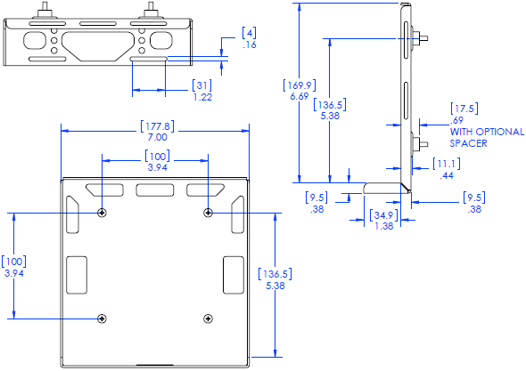 Technical Drawing for Chief PAC260D Digital Media Player Direct to Display Mount VESA100