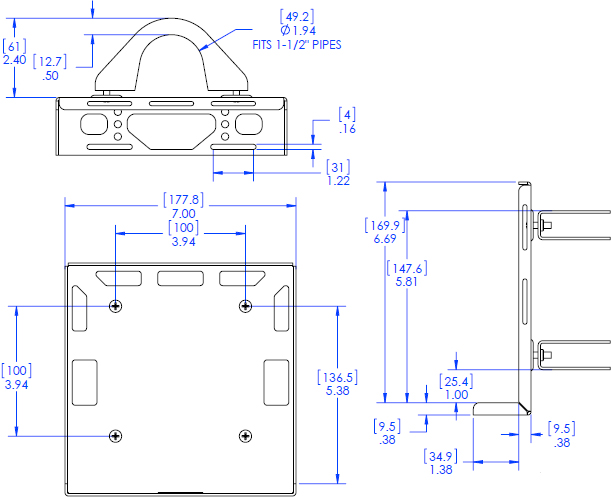 Technical Drawing for Chief PAC260P Digital Media Player Pole Mount