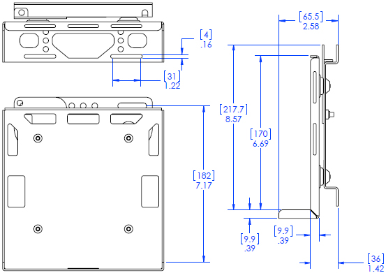 Technical Drawing for Chief PAC260W Digital Media Player DMP Wall Mount