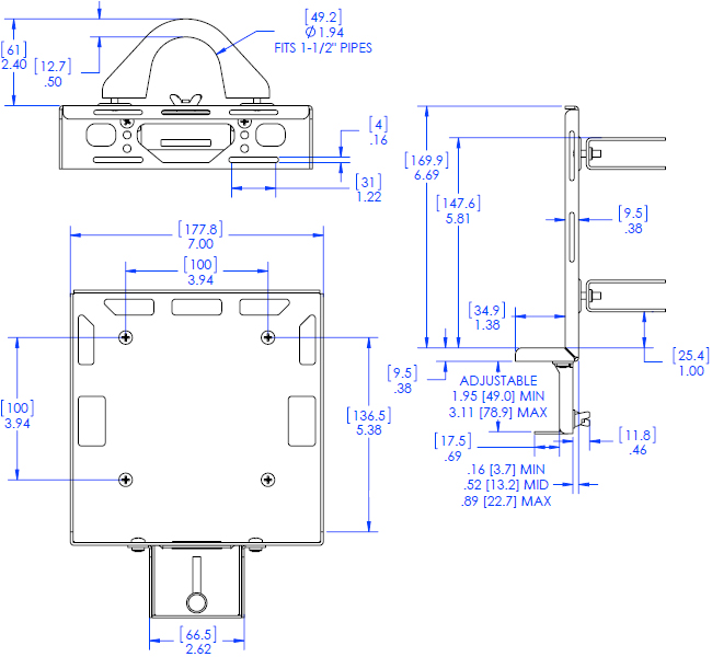 Technical Drawing for Chief PAC261P DMP Pole Mount with Power Brick Adapter