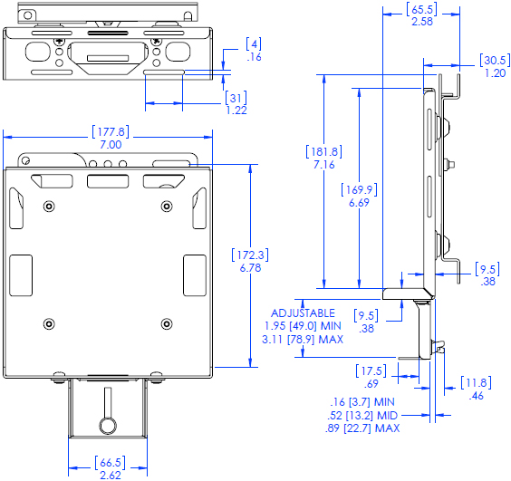 Technical Drawing for Chief PAC261W DMP Wall Mount with Power Brick Adapter