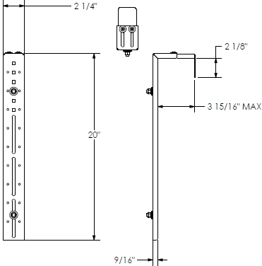 Technical Drawing for Chief PAC390 Office Furniture Flat Panel Cube Wall Adapter