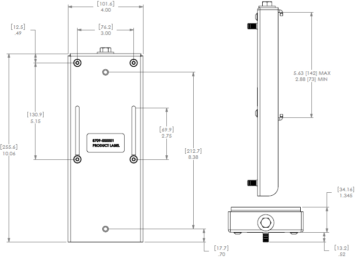 Technical Drawing for Chief PAC392B Universal Flat Panel Slat Wall Mounting Bracket