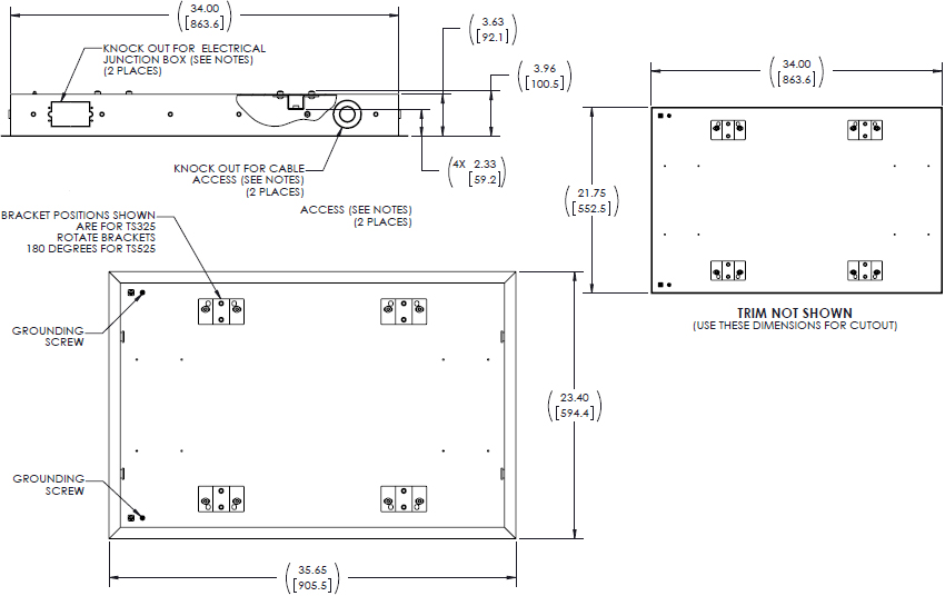 Technical Drawing for Chief TA500 Large Thinstall In-Wall Swing Arm Accessory