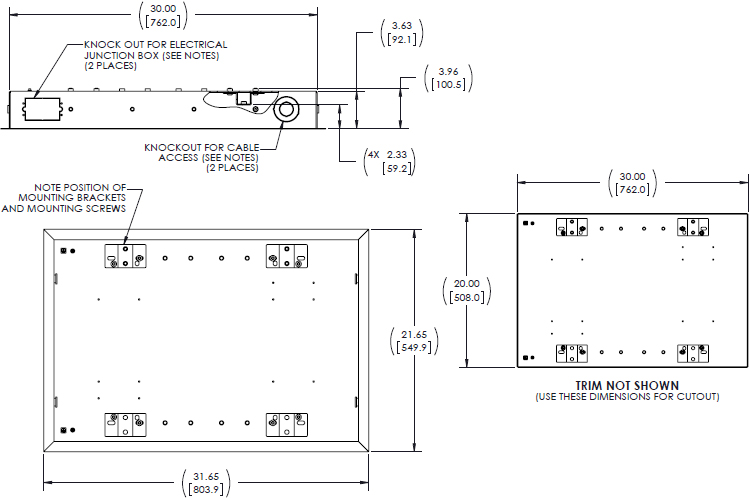 Technical Drawing for Chief TA501 Medium Thinstall In-Wall Swing Arm Accessory